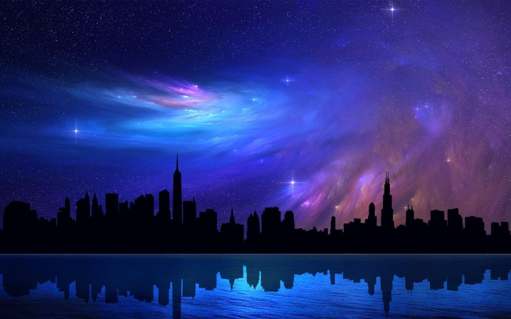 chicago_skyscrapers_sky_abstraction_stars_night_reflection_beautiful_dreamy_nebula