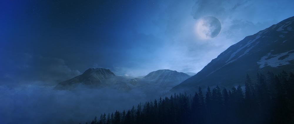 Moon over Siberia -kuva Redditistä (kuvalähde: http://i.imgur.com/cTdbFUo.jpg)
