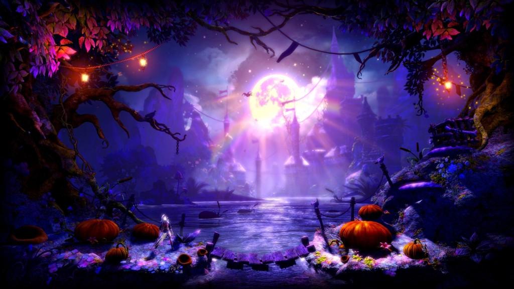 Suomalainen Trine-peli sisältää näyttävää grafiikkaa ja taianomaisia maisemia.